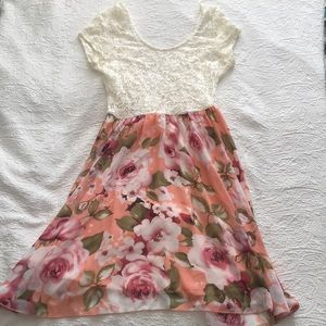 Windsor Floral Pink and Lace Dress